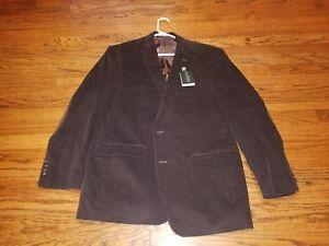 New POLO RALPH LAUREN CORDUROY Blazer Jacket Sport Coat w/ LEATHER PATCHES 43R