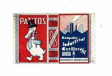 1 Old Mexico c1900s matchbox label Patitos size 93x58mm.