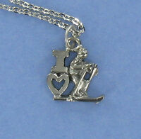 I Love Skiing Necklace - Pewter Charm on Chain Winter Ski Skis Poles Skier NEW