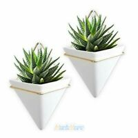 2x Ceramic Hanging Planter Indoor Wall Planter Triangle Plant Large+Metal Frame