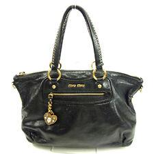 Auth MiuMiu Handbag Heart Charm Ladies used Y5187