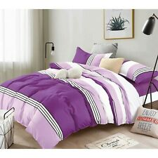 Dcp 5Pcs Microfiber Comforter Set Bed in a Bag,Warm and Soft,Stripes Violet,Twin