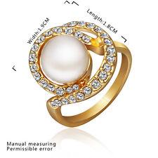 18K Gold Zirconia Pearl Ring Size 8 B20