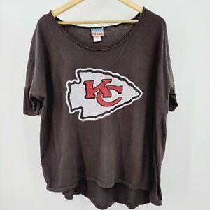 Kansas City Chiefs Junk Food Women's Oversized T-Shirt Sz L Dolman Sleeve Gray