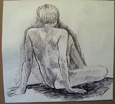 """""""SITTING NUDE"""" by Ruth Freeman  FLO MASTER INK PEN   15"""" X 16 1/4"""""""