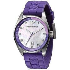 ARMANI Damenuhr AR5881 EA Luxus Uhr lila Armband perlmut Datum rund Edel rar NEU