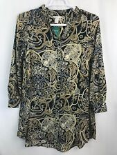 NWT H&M Womens Paisley Long Sleeve Button Front Tunic Blouse Sz US 6-8 Eur 38/40