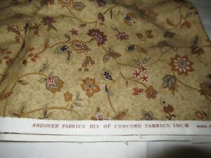 Concord Andover Flannel Fabric 4.2 Yards brown Jacobean floral soft thick cotton