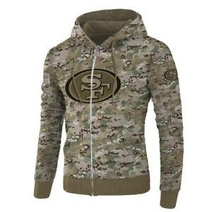 San Francisco 49ers Mens Hoodie Football Hooded Sweatshirt Zipper Jacket Coat
