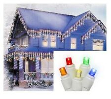 Set of 70 Multi-Color LED Micro Icicle Christmas Lights, White Wire - 11ft