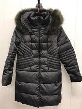 NEW 1 Madison Women's Luxe Down Walker Coat With Faux Fur Sz MED Dark Gray