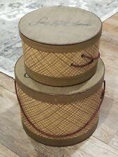 Vintage Saks Fifth Avenue Hat Box Set 2 Brown Plaid Rope Handle New York Usa