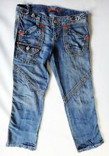 Destroyed Distressed Jean 31 low rise hippie patchwork blue denim red stitch
