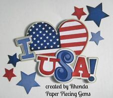 love USA paper piecing title Premade Scrapbook Pages die cut by Rhonda