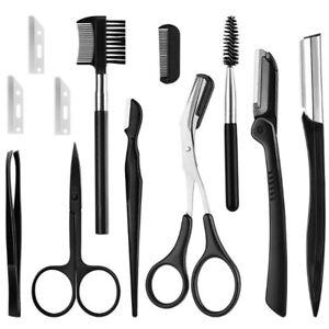 12pcs/set Eyebrow Grooming Tool Kit Stencil Scissors Tweezer Razor Comb Trimming