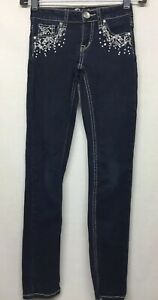 Justice Premium Jean's Girls Simply Low Super Skinny Beaded Jegging - Size 10S