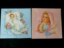 2 Sheets of Vintage BABY Boy Girl Gift Wrap / Wrapping paper