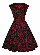 Vintage 40's 50's Style Embossed Flocked Sweetheart Cocktail Dress 8 - 24 Size 12 Baroque / Burgundy