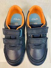 Clarks Boys Rex Quest K Navy Combi Shoes Size 11 1/2G
