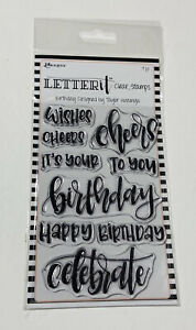 Ranger Letter It Happy Birthday Stamps 9 pc Wishes Cheers Clear Acrylic NEW!