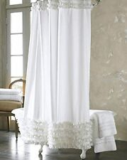 White Ruffled Design Shower Curtain Bathroom Waterproof Polyester With 12 Hooks