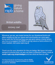 RSPB Pin Badge | Snowy Owl standing | GNaH backing card [00857]