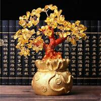 Feng Shui Wealth Lucky Tree Citrine Yellow Crystal Gold Gem Shop Money Bag Pot