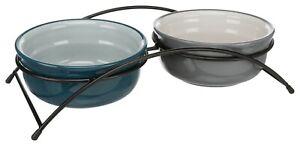 Trixie Eat on Feet Dog Bowl Set - Ceramic Dish Food & Water Bowls & Stand 2x0.6L