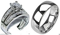 His & Hers Diamond Wedding Ring Men's Bridal Band Set Sterling Silver White Gold