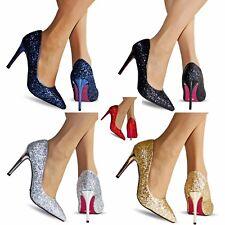 Mujer Fiesta Graduación Noche Súper Brillante Zapatos de Salón Tacón Alto Talla