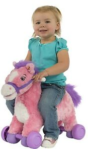 2-in-1 Girls Pink Pony Kids Toddler Soft Huggable Rocking Rolling Ride On Toy