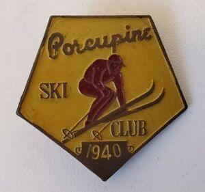 Vintage Porcupine Ski Club Lapel Pin Pinback 1940
