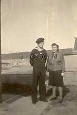 WWII German Navy RP- Kriegsmarine- Sailor- Hat- Home on Leave- With His Mother