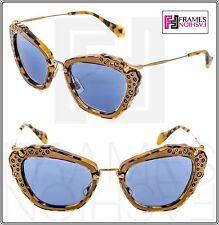 f12ed335aa7 MIU MIU NOIR 04Q Brown Havana Blue Leather Crystal Mirrored Sunglasses  MU04QS