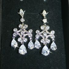 35mm Diamond Alternatives Chandelier Dangle Earrings 14k White Gold over Base