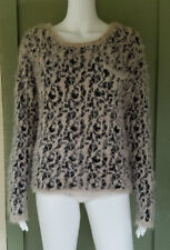 NWT XOXO Fuzzy Leopard Knit Sweater Large L Eyelash Yarn