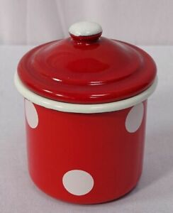 Enamel Sugar Bowl, Kitchen Container, Storage Jar with Lid, Spots Red White