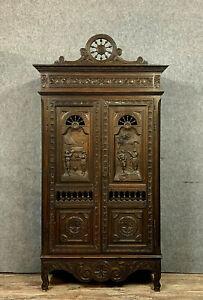 Magnifique armoire Bretonne Louis XV en chêne massif a patine brune vers 1850