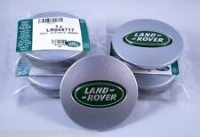4 Land Rover Range Rover Freelander 63mm SILVER w/ LIGHT GREEN OVAL CENTER CAPS