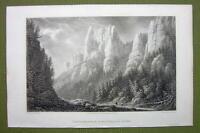 GERMANY Rathewalde Harz Ferdinandstein Rocks - 1820s Copper Engraving Cpt BATTY
