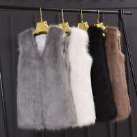 Korean Women Lady Mid Long Vest Faux Fur Coat Waistcoat Sleeveless Vest Coat New