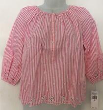 Polo Ralph Lauren Girl's Top~Pink White Stripe~LS~Eyelet Border~Size 10~NWT