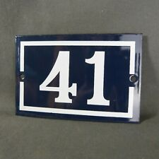 French Vintage Blue Enamel Metal Street Number n°41 Door House Plaque