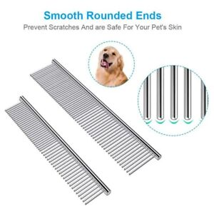 Stainless Steel Pet Comb Pet Grooming Comb Rounded Teeth Dog Comb