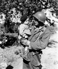 WWII B&W Photo US Soldier with French Child Normandy France 1944  WW2 / 1162