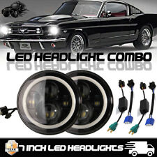 """7"""" ROUND BLACK LED ANGEL EYE HALO PROJECTOR HI/LO HEADLIGHTS FORD MUSTANG 65-78"""