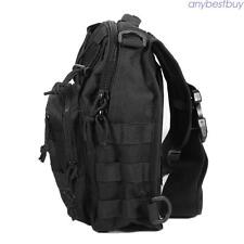HOT Mens Travel Hiking Military Tactical Black Sling Backpack Chest Shoulder Bag