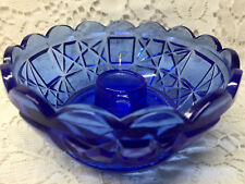 Aqua Blue glass Block and star Candle bowl candlestick holder votive cobalt art