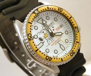 Seiko Ceramic Snoopy Loves Woodstock Automatic Divers Day Date Watch SKX007 Mod