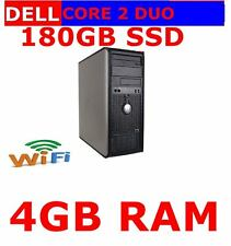 DELL 780 TOWER COMPUTER PC CORE 2 DUO 4GB RAM 180GB SSD  DUAL SCREEN